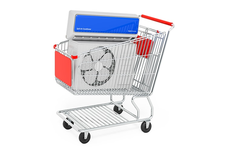 Air conditioner system inside shopping cart, 3D rendering isolated on white background